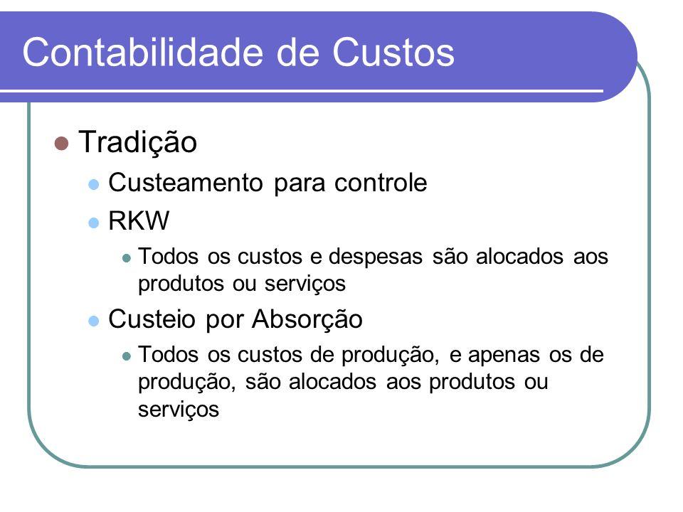 Contabilidade de Custos Tradição Custeamento para controle RKW Todos os custos e despesas são alocados aos produtos ou serviços Custeio por Absorção T