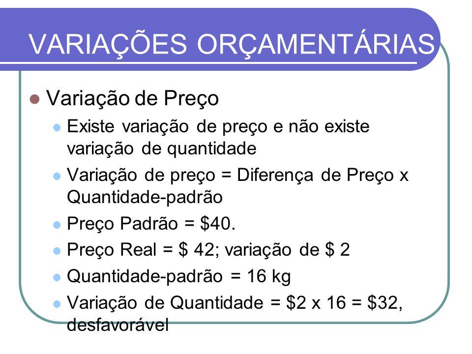 VARIAÇÕES ORÇAMENTÁRIAS Variação de Preço Existe variação de preço e não existe variação de quantidade Variação de preço = Diferença de Preço x Quanti