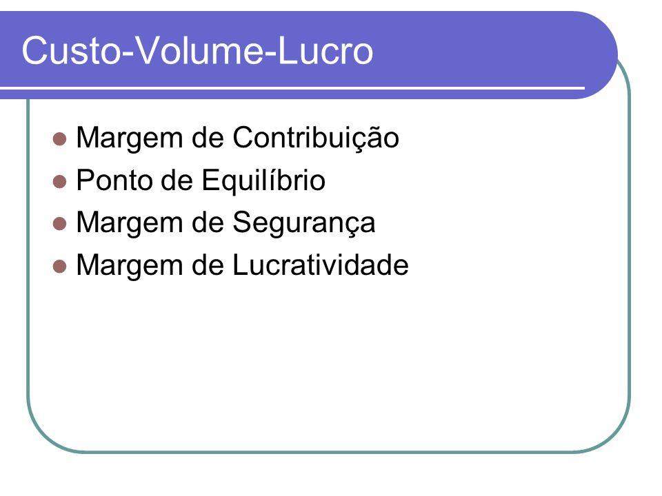 Custo-Volume-Lucro Margem de Contribuição Ponto de Equilíbrio Margem de Segurança Margem de Lucratividade