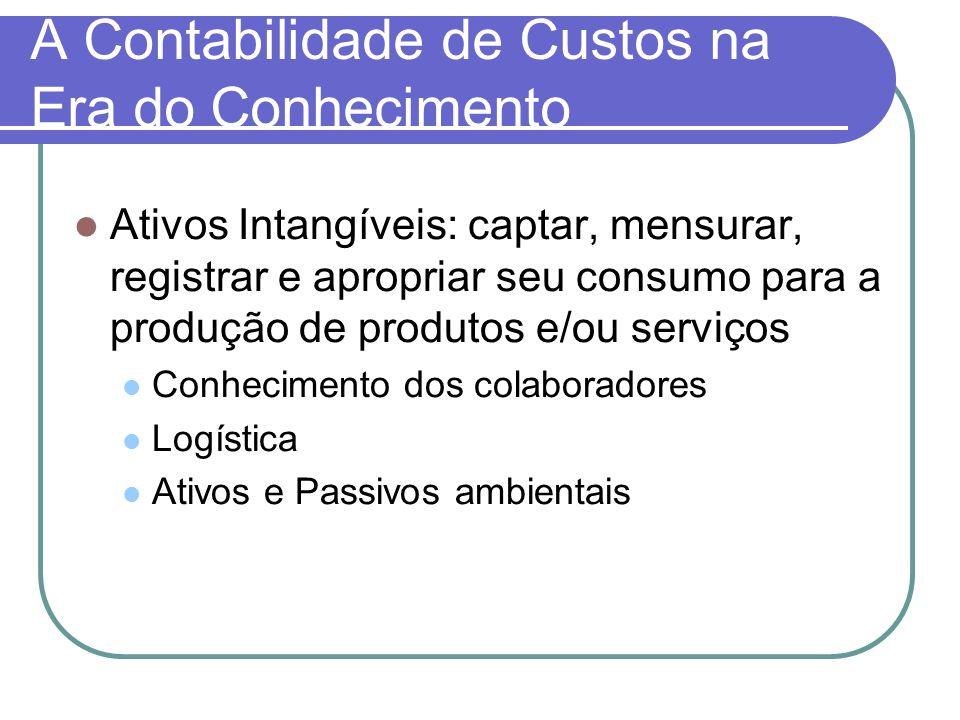A Contabilidade de Custos na Era do Conhecimento Ativos Intangíveis: captar, mensurar, registrar e apropriar seu consumo para a produção de produtos e
