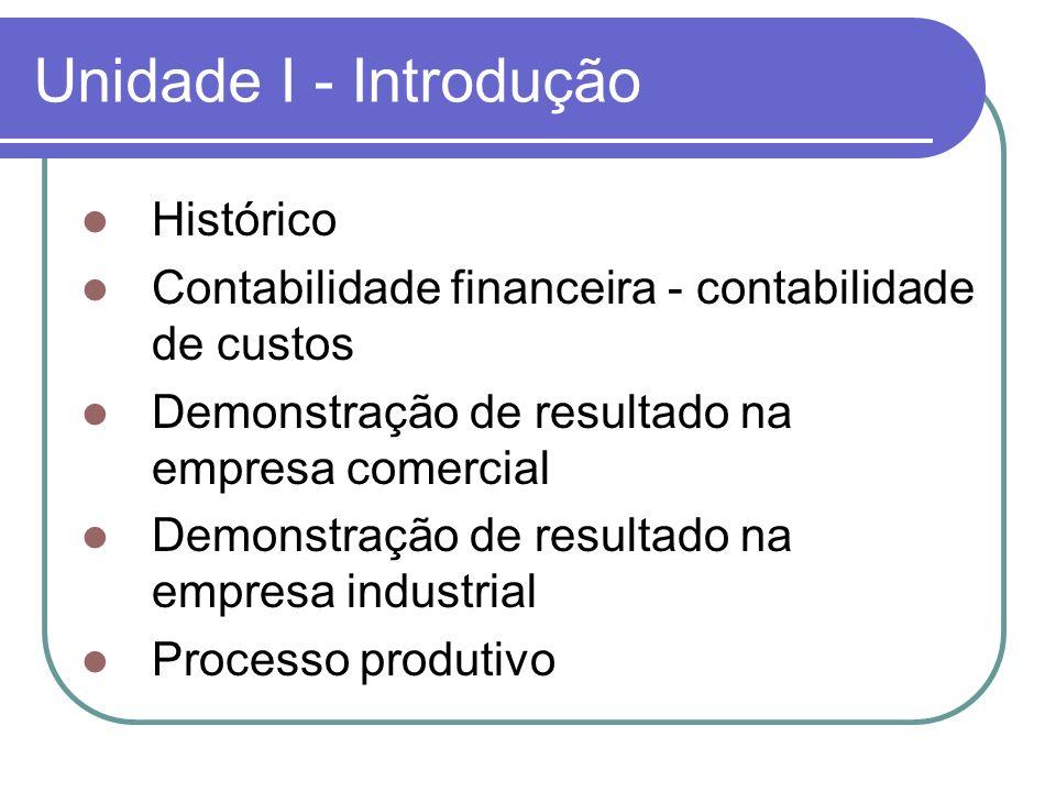 Unidade I - Introdução Histórico Contabilidade financeira - contabilidade de custos Demonstração de resultado na empresa comercial Demonstração de res