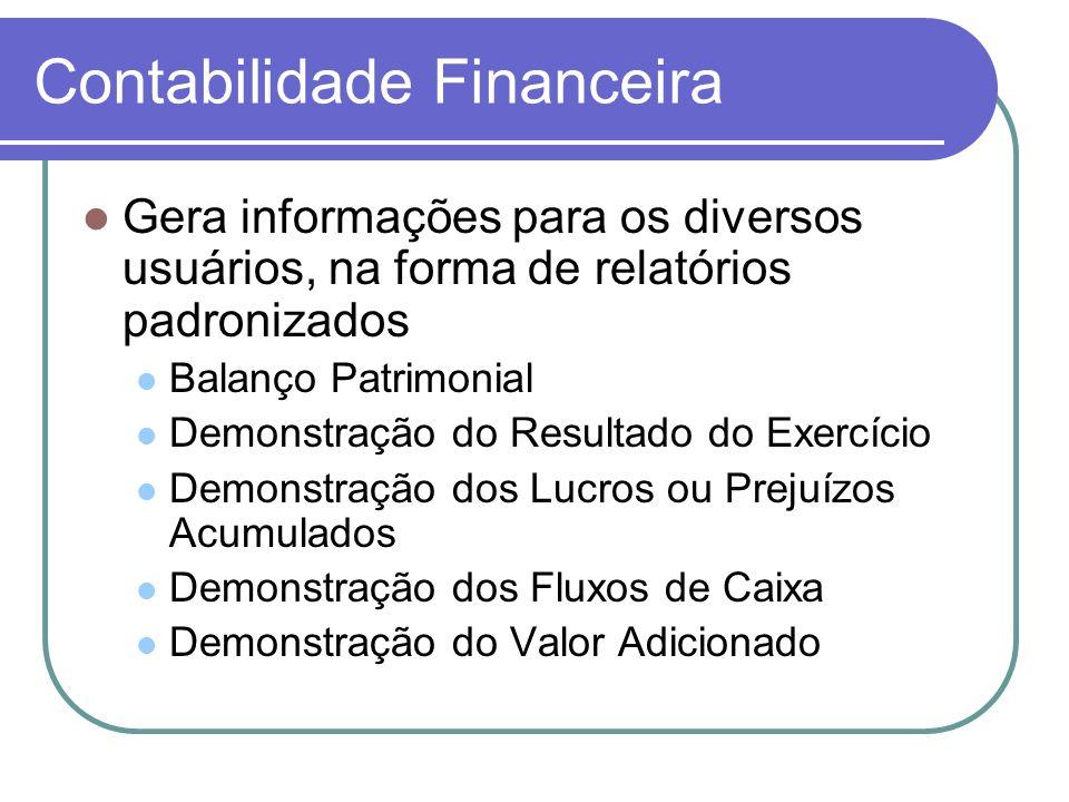 Contabilidade Financeira Gera informações para os diversos usuários, na forma de relatórios padronizados Balanço Patrimonial Demonstração do Resultado