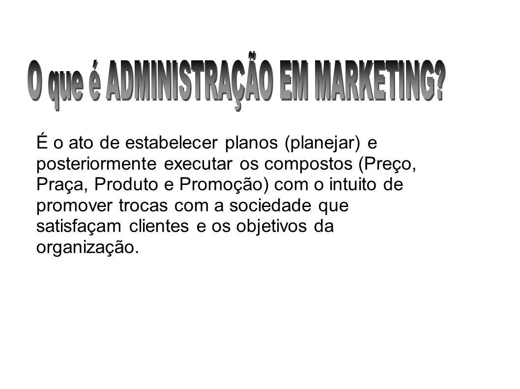 É o ato de estabelecer planos (planejar) e posteriormente executar os compostos (Preço, Praça, Produto e Promoção) com o intuito de promover trocas co