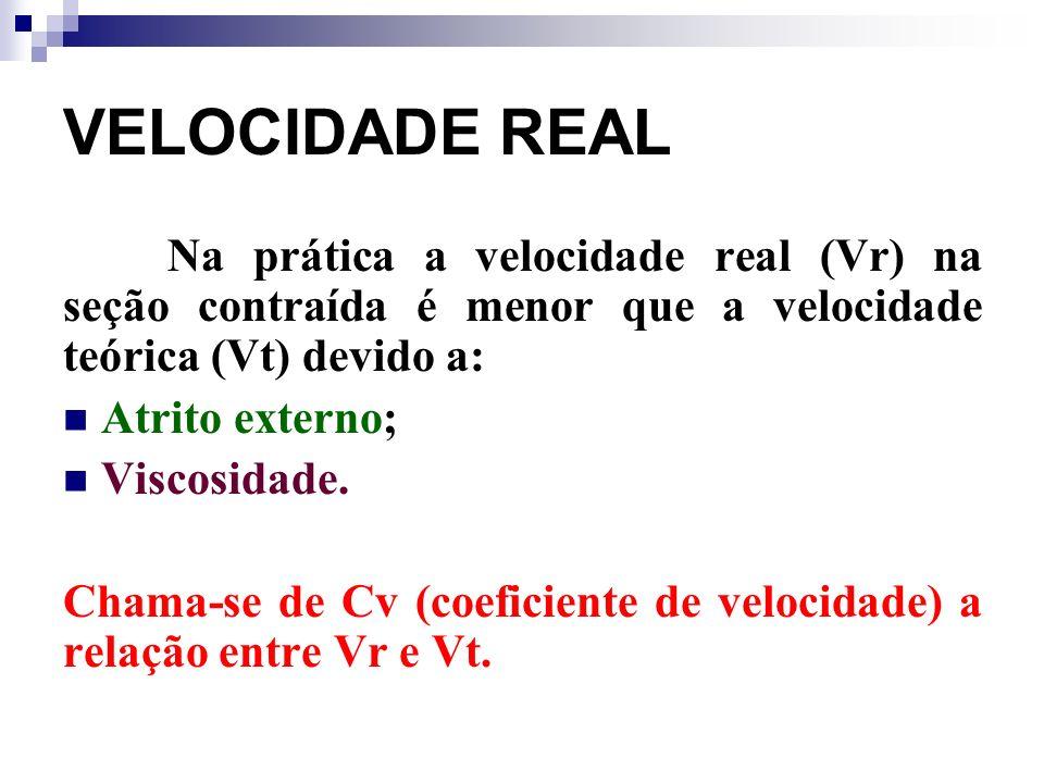 VELOCIDADE REAL Na prática a velocidade real (Vr) na seção contraída é menor que a velocidade teórica (Vt) devido a: Atrito externo; Viscosidade.