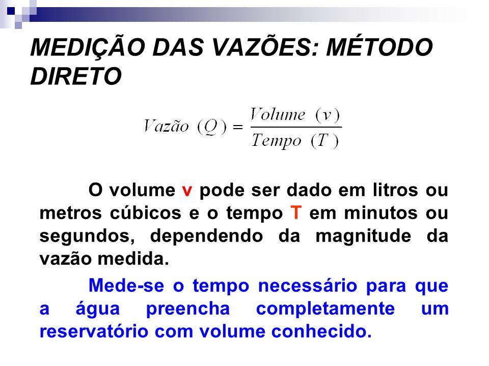 MEDIÇÃO DAS VAZÕES: MÉTODO DIRETO O volume v pode ser dado em litros ou metros cúbicos e o tempo T em minutos ou segundos, dependendo da magnitude da vazão medida.