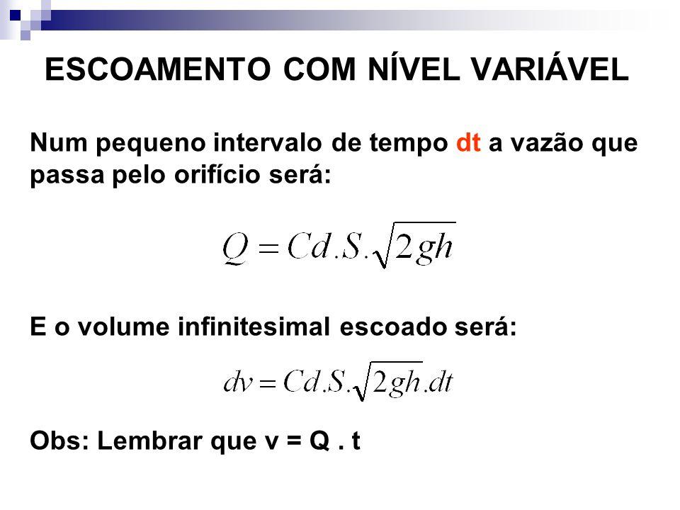 ESCOAMENTO COM NÍVEL VARIÁVEL Num pequeno intervalo de tempo dt a vazão que passa pelo orifício será: E o volume infinitesimal escoado será: Obs: Lembrar que v = Q.
