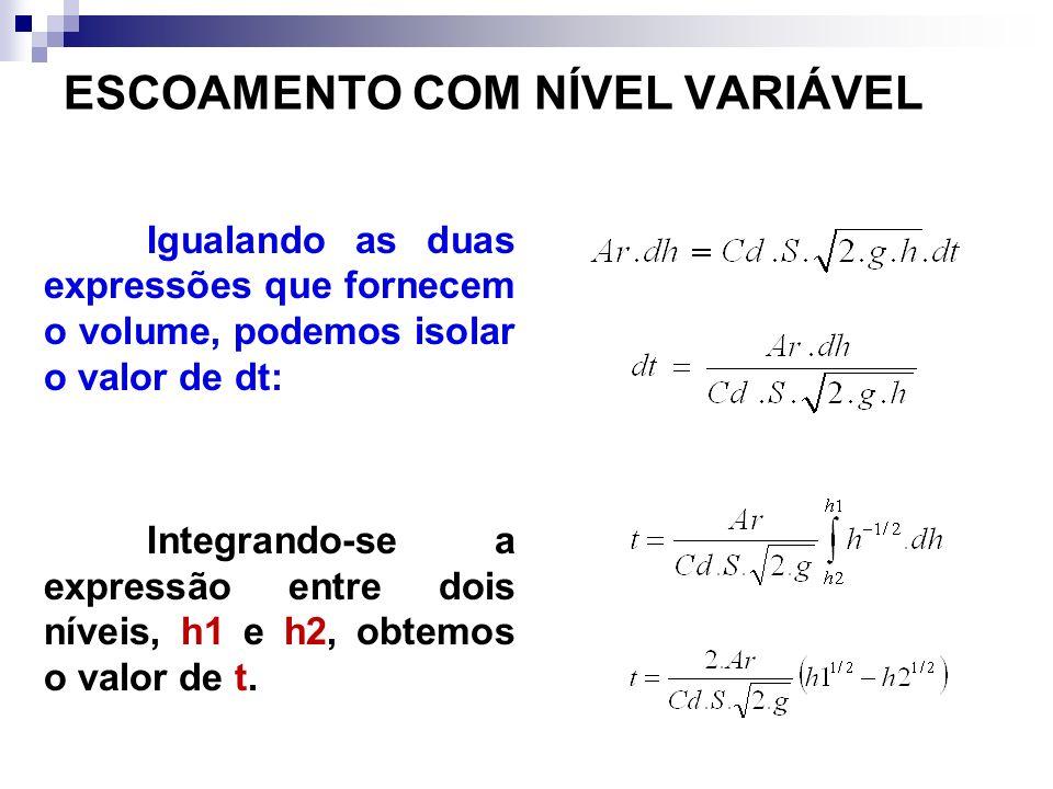 Igualando as duas expressões que fornecem o volume, podemos isolar o valor de dt: Integrando-se a expressão entre dois níveis, h1 e h2, obtemos o valor de t.