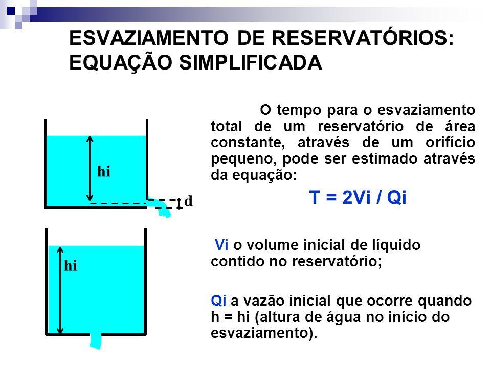 ESVAZIAMENTO DE RESERVATÓRIOS: EQUAÇÃO SIMPLIFICADA O tempo para o esvaziamento total de um reservatório de área constante, através de um orifício pequeno, pode ser estimado através da equação: T = 2Vi / Qi Vi o volume inicial de líquido contido no reservatório; Qi a vazão inicial que ocorre quando h = hi (altura de água no início do esvaziamento).