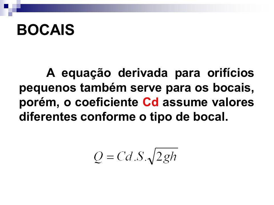 A equação derivada para orifícios pequenos também serve para os bocais, porém, o coeficiente Cd assume valores diferentes conforme o tipo de bocal.