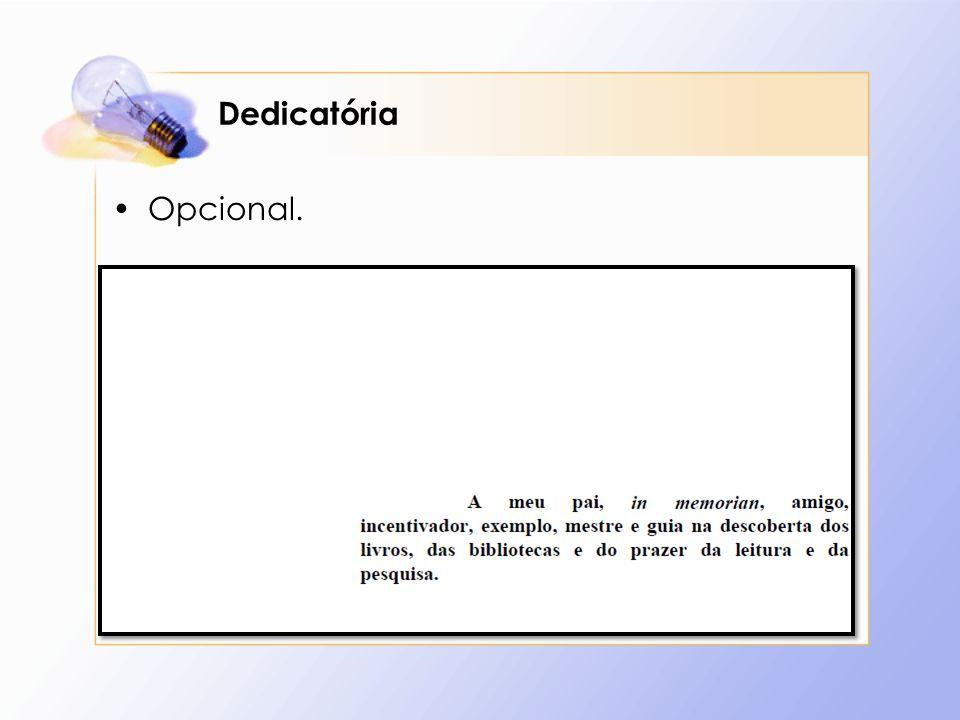 Dedicatória Opcional.