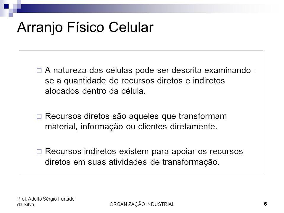ORGANIZAÇÃO INDUSTRIAL17 Prof. Adolfo Sérgio Furtado da Silva Arranjo Físico por Produto