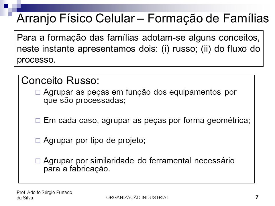 ORGANIZAÇÃO INDUSTRIAL18 Prof. Adolfo Sérgio Furtado da Silva Arranjo Físico por Produto