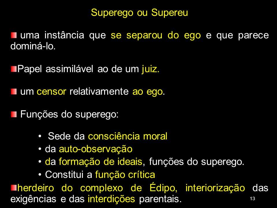 Superego ou Supereu uma instância que se separou do ego e que parece dominá-lo. Papel assimilável ao de um juiz. um censor relativamente ao ego. Funçõ