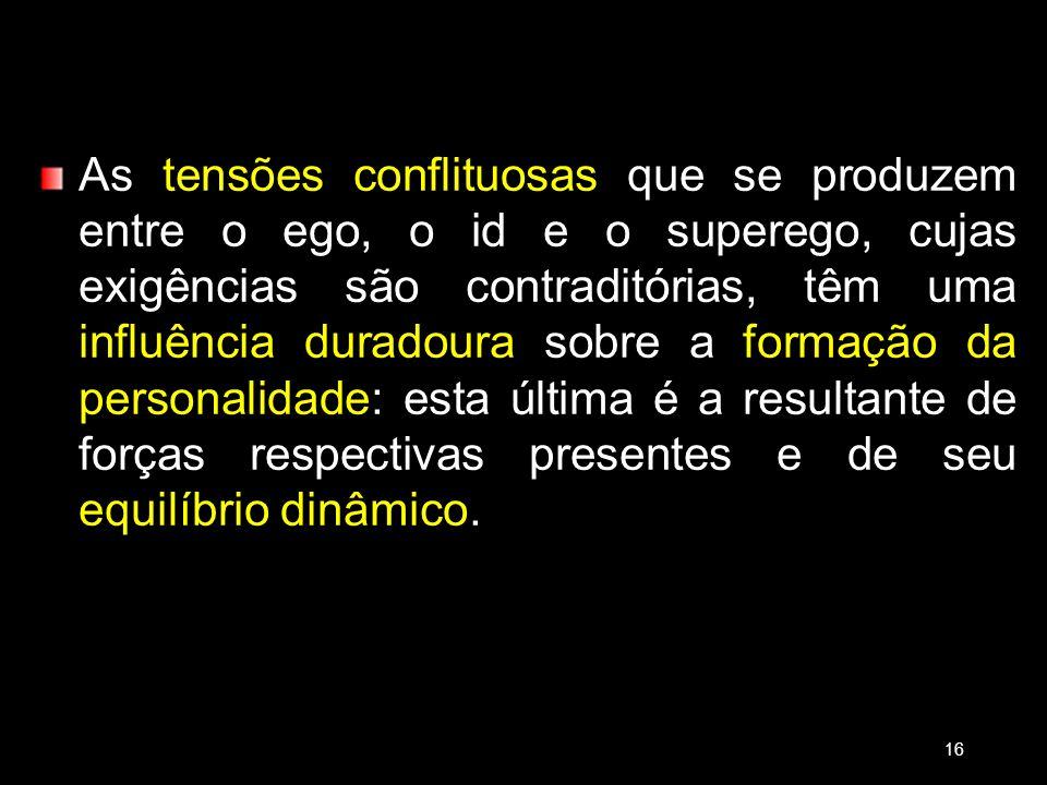 As tensões conflituosas que se produzem entre o ego, o id e o superego, cujas exigências são contraditórias, têm uma influência duradoura sobre a form