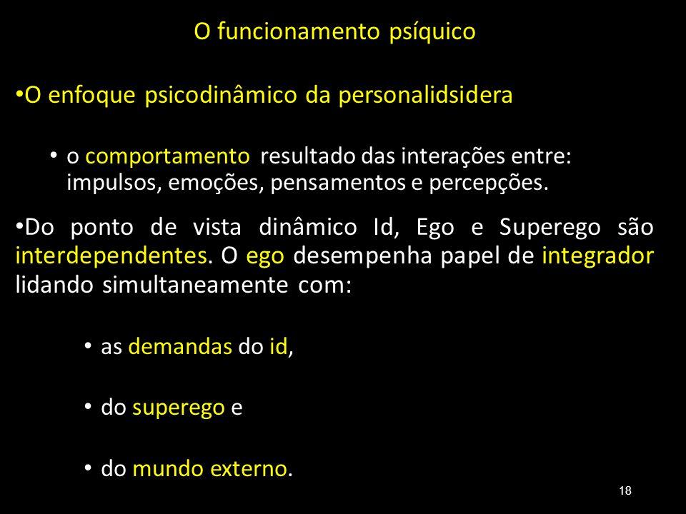 O funcionamento psíquico O enfoque psicodinâmico da personalidsidera o comportamento resultado das interações entre: impulsos, emoções, pensamentos e