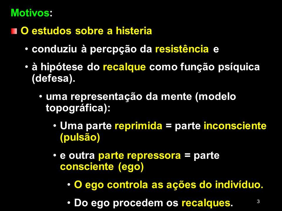 Motivos: O estudos sobre a histeria conduziu à percpção da resistência e à hipótese do recalque como função psíquica (defesa). uma representação da me