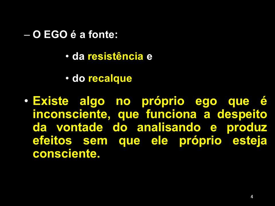 –O EGO é a fonte: da resistência e do recalque Existe algo no próprio ego que é inconsciente, que funciona a despeito da vontade do analisando e produ