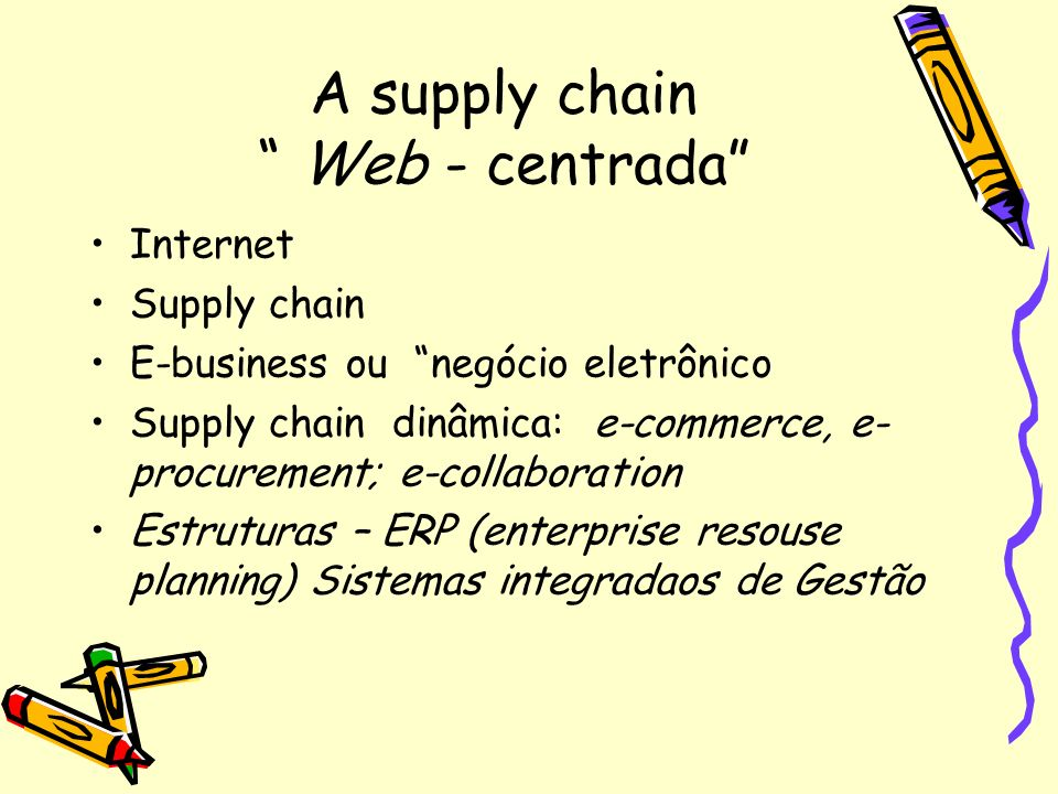 A supply chain Web - centrada Internet Supply chain E-business ou negócio eletrônico Supply chain dinâmica: e-commerce, e- procurement; e-collaboratio