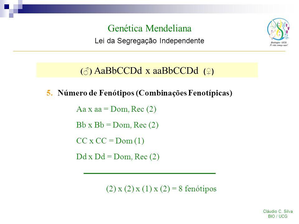 Genética Mendeliana Lei da Segregação Independente Cláudio C. Silva BIO / UCG 5.Número de Fenótipos (Combinações Fenotípicas) Aa x aa = Dom, Rec (2) B