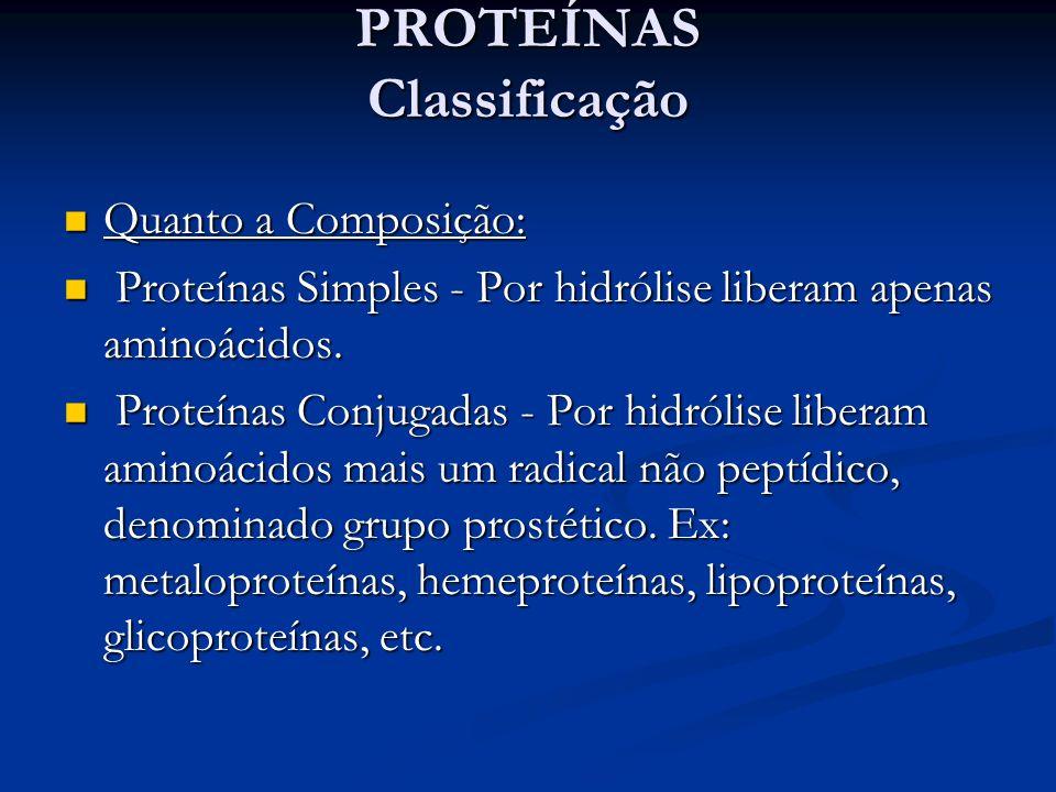 PROTEÍNAS Classificação PROTEÍNAS Classificação Quanto a Composição: Quanto a Composição: Proteínas Simples - Por hidrólise liberam apenas aminoácidos