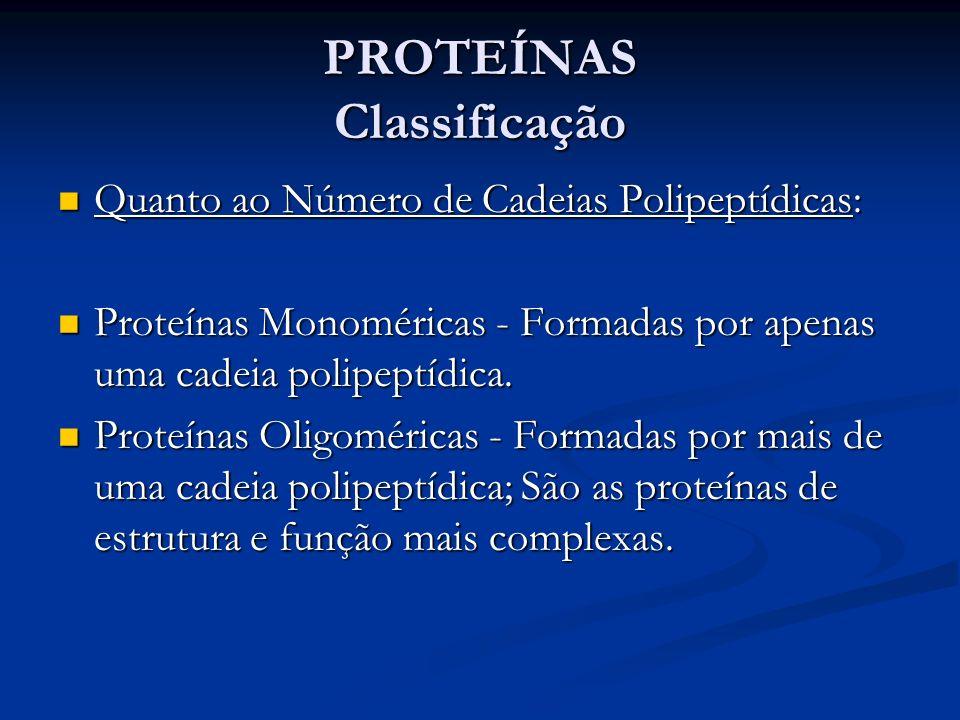 PROTEÍNAS Classificação Quanto ao Número de Cadeias Polipeptídicas: Quanto ao Número de Cadeias Polipeptídicas: Proteínas Monoméricas - Formadas por a