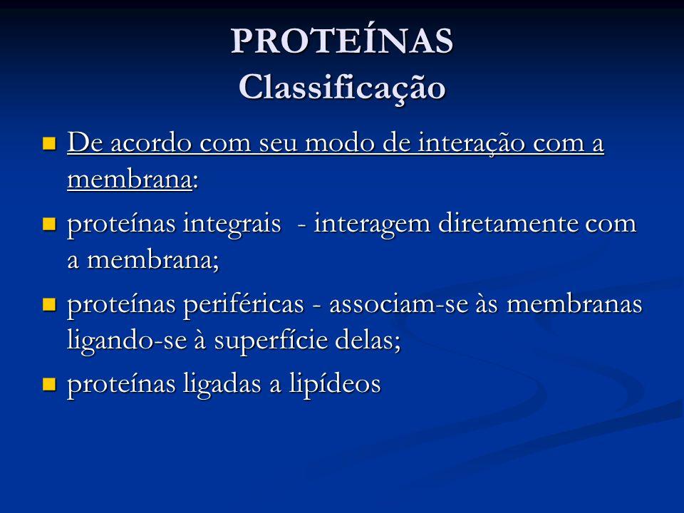 PROTEÍNAS Classificação De acordo com seu modo de interação com a membrana: De acordo com seu modo de interação com a membrana: proteínas integrais -