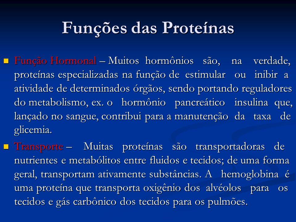 Funções das Proteínas Função Hormonal – Muitos hormônios são, na verdade, proteínas especializadas na função de estimular ou inibir a atividade de det