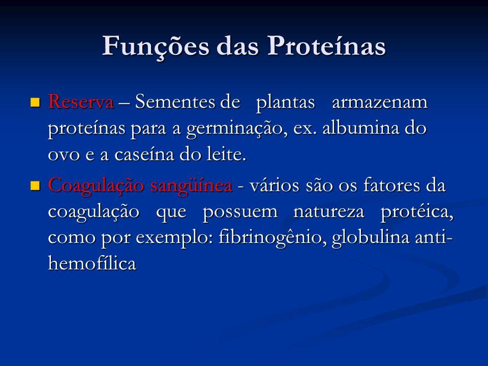 Funções das Proteínas Reserva – Sementes de plantas armazenam proteínas para a germinação, ex. albumina do ovo e a caseína do leite. Reserva – Semente
