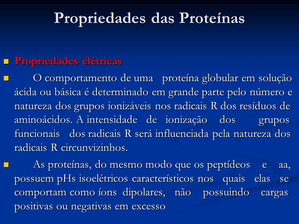 Propriedades das Proteínas Propriedades das Proteínas Propriedades elétricas Propriedades elétricas O comportamento de uma proteína globular em soluçã