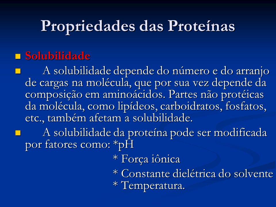 Propriedades das Proteínas Solubilidade Solubilidade A solubilidade depende do número e do arranjo de cargas na molécula, que por sua vez depende da c