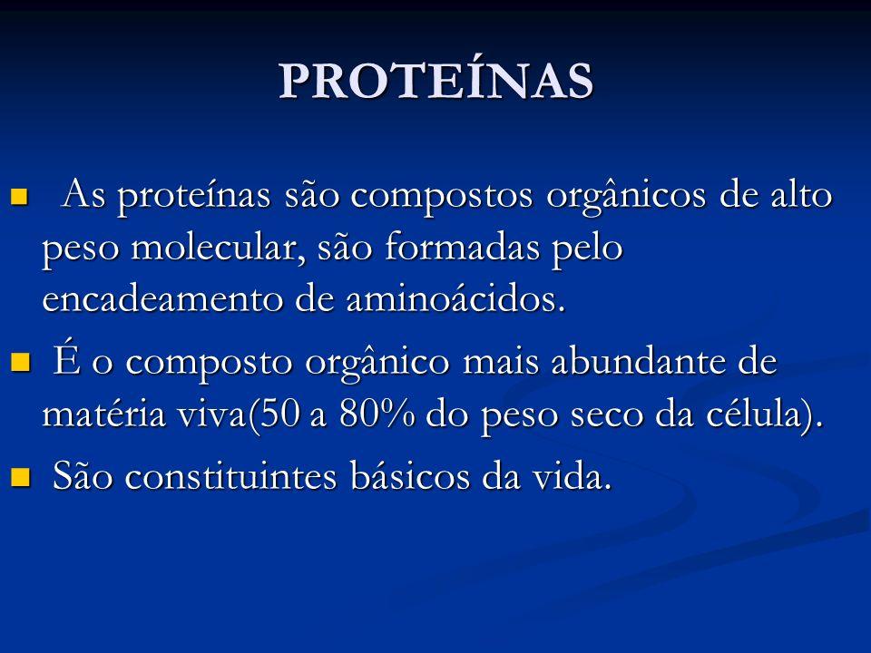 PROTEÍNAS As proteínas são compostos orgânicos de alto peso molecular, são formadas pelo encadeamento de aminoácidos. As proteínas são compostos orgân