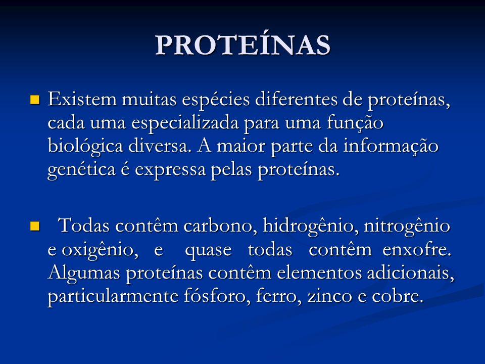 PROTEÍNAS Existem muitas espécies diferentes de proteínas, cada uma especializada para uma função biológica diversa. A maior parte da informação genét