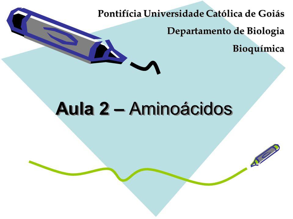 Aula 2 – Aminoácidos Pontifícia Universidade Católica de Goiás Departamento de Biologia Bioquímica