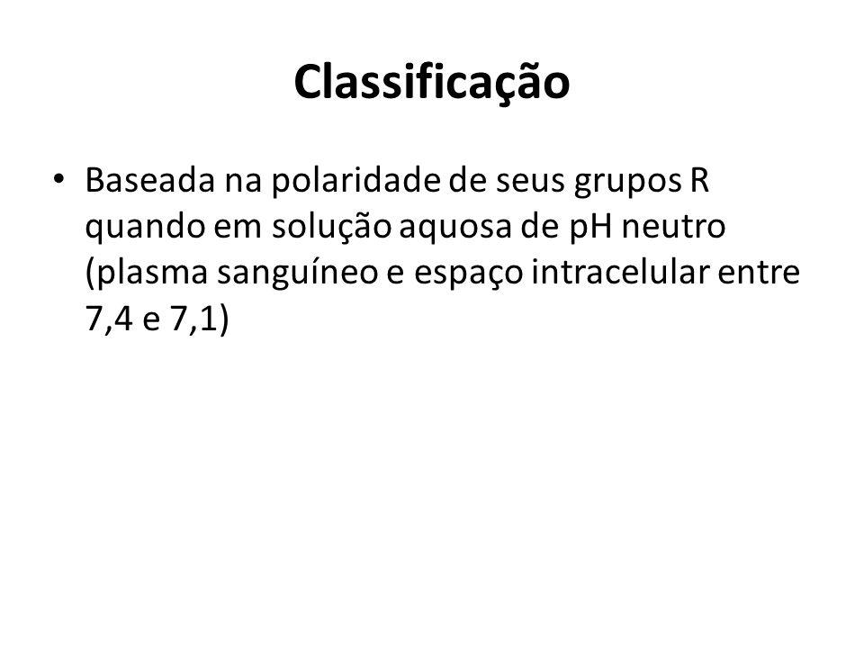 1- Não polares (hidrofóbicos) Alanina; Leucina; Isoleucina; Valina; Prolina.(cadeia R alquílica).