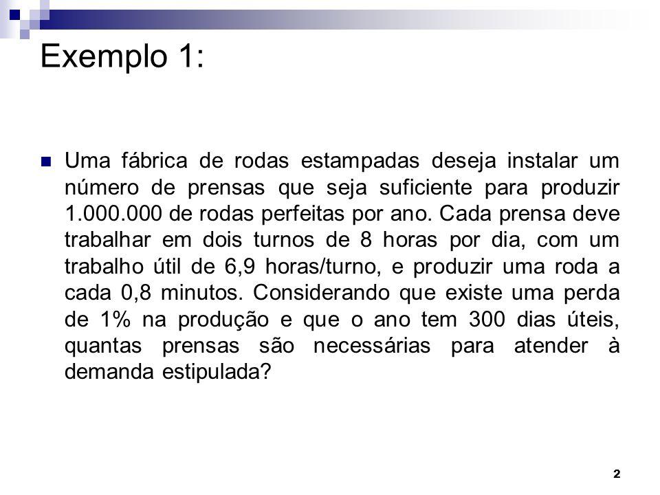 13 Exemplo 6: Solução a)Nº frascos = (7h/turno x 3600 s/h) / 15s.máquina/frasco= 1680 frascos/turno.máquina Frascos s/ defeito = 1680 x 0,97 = 1629,6 frascos Produção anual = 1629,6 x 2 x 300 = 977.760 frascos/máquina.ano b) Nº máquinas = 2.000.000 / 977.760 = 2,05 máquinas