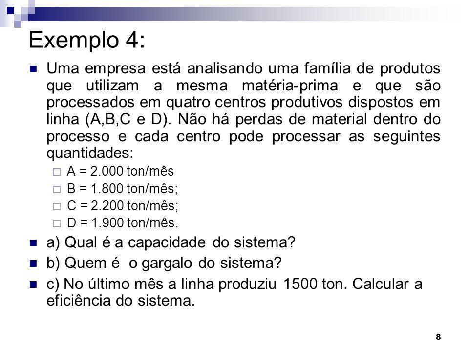 8 Exemplo 4: Uma empresa está analisando uma família de produtos que utilizam a mesma matéria-prima e que são processados em quatro centros produtivos