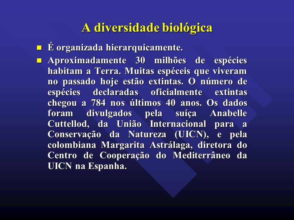 A diversidade biológica É organizada hierarquicamente. É organizada hierarquicamente. Aproximadamente 30 milhões de espécies habitam a Terra. Muitas e