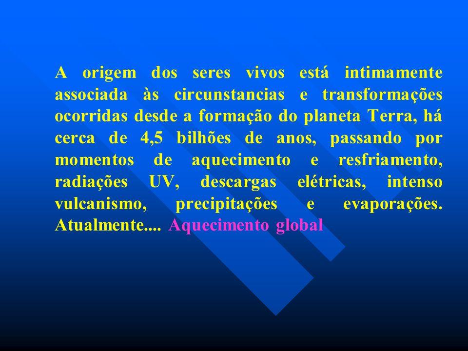 A origem dos seres vivos está intimamente associada às circunstancias e transformações ocorridas desde a formação do planeta Terra, há cerca de 4,5 bi