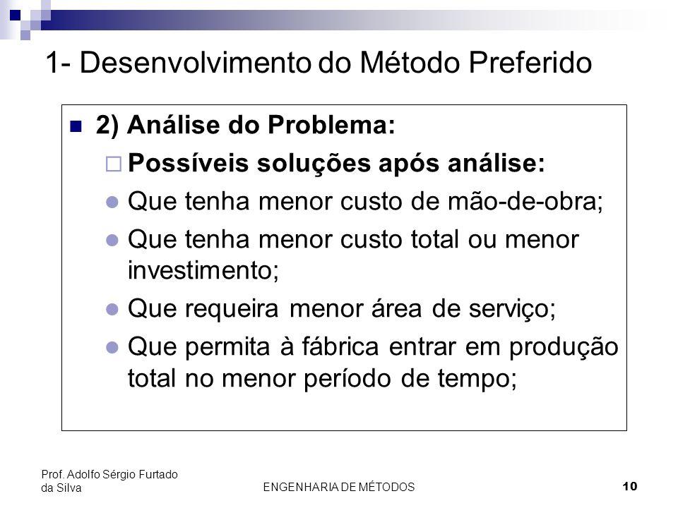 ENGENHARIA DE MÉTODOS10 Prof. Adolfo Sérgio Furtado da Silva 2) Análise do Problema: Possíveis soluções após análise: l Que tenha menor custo de mão-d