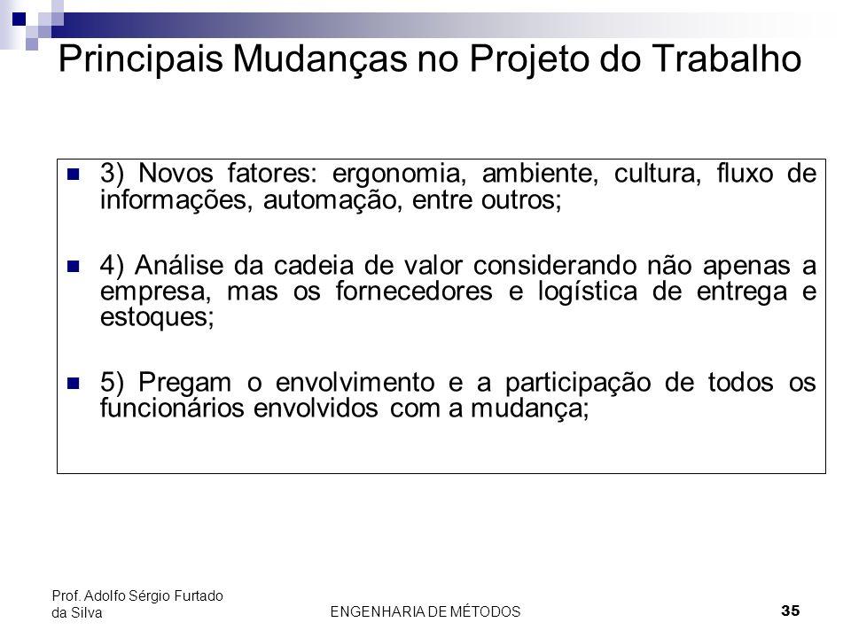ENGENHARIA DE MÉTODOS35 Prof. Adolfo Sérgio Furtado da Silva 3) Novos fatores: ergonomia, ambiente, cultura, fluxo de informações, automação, entre ou