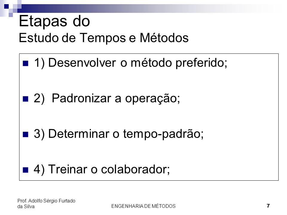 ENGENHARIA DE MÉTODOS7 Prof. Adolfo Sérgio Furtado da Silva Etapas do Estudo de Tempos e Métodos 1) Desenvolver o método preferido; 2) Padronizar a op