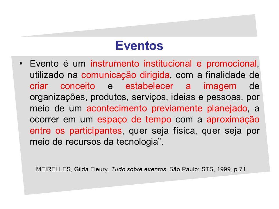 Eventos Evento é um instrumento institucional e promocional, utilizado na comunicação dirigida, com a finalidade de criar conceito e estabelecer a ima