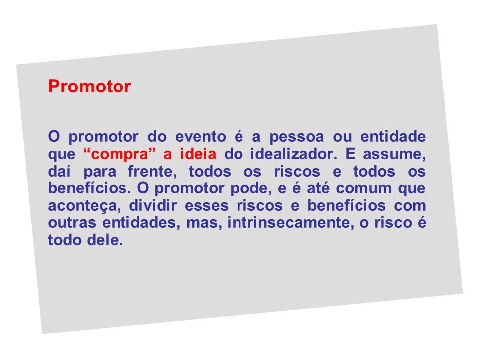 Promotor O promotor do evento é a pessoa ou entidade que compra a ideia do idealizador. E assume, daí para frente, todos os riscos e todos os benefíci