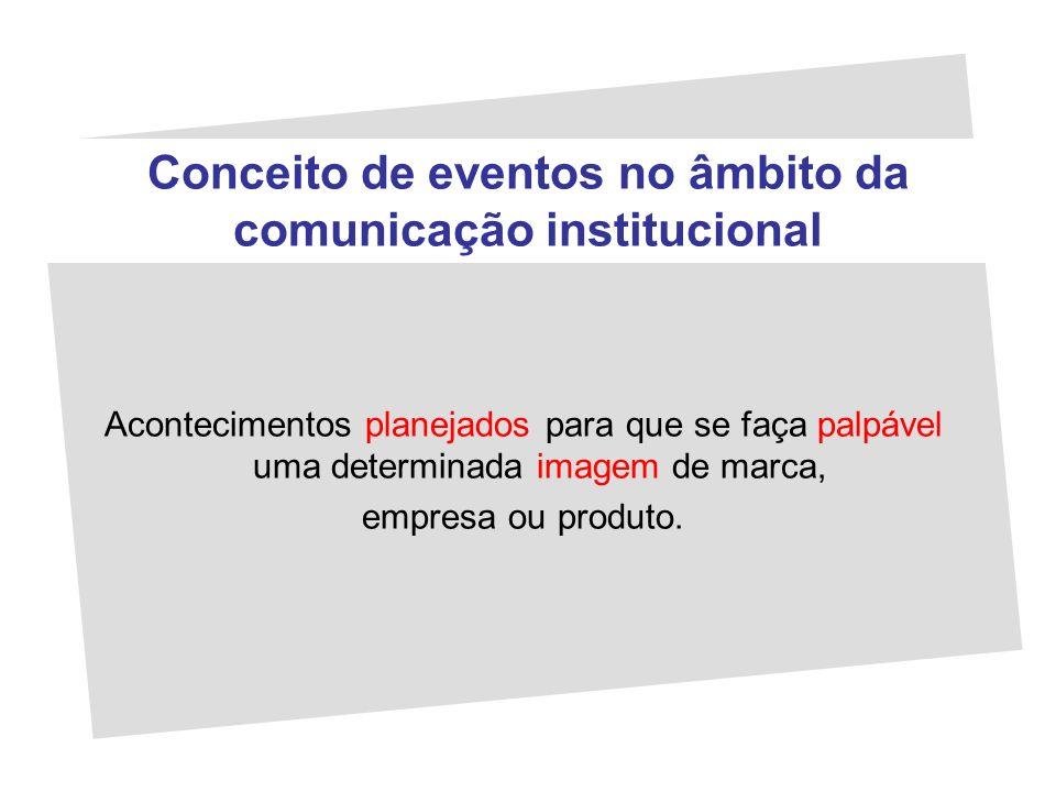 Conceito de eventos no âmbito da comunicação institucional Acontecimentos planejados para que se faça palpável uma determinada imagem de marca, empres