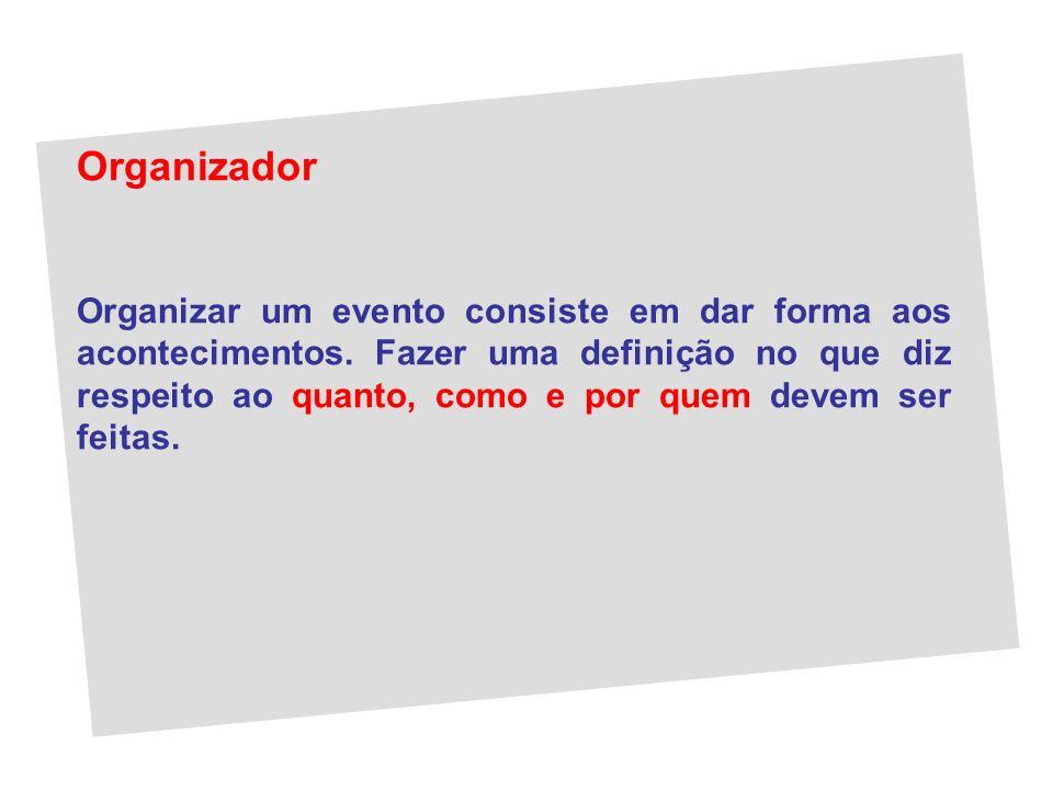 Organizador Organizar um evento consiste em dar forma aos acontecimentos. Fazer uma definição no que diz respeito ao quanto, como e por quem devem ser