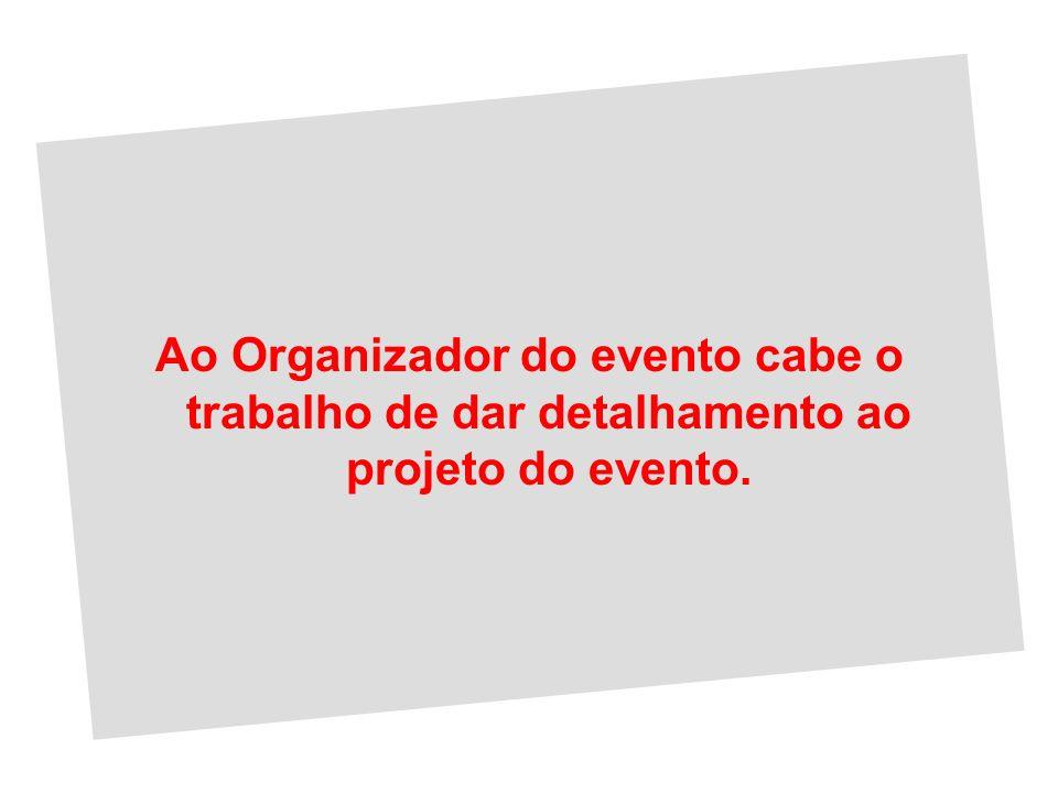 Ao Organizador do evento cabe o trabalho de dar detalhamento ao projeto do evento.