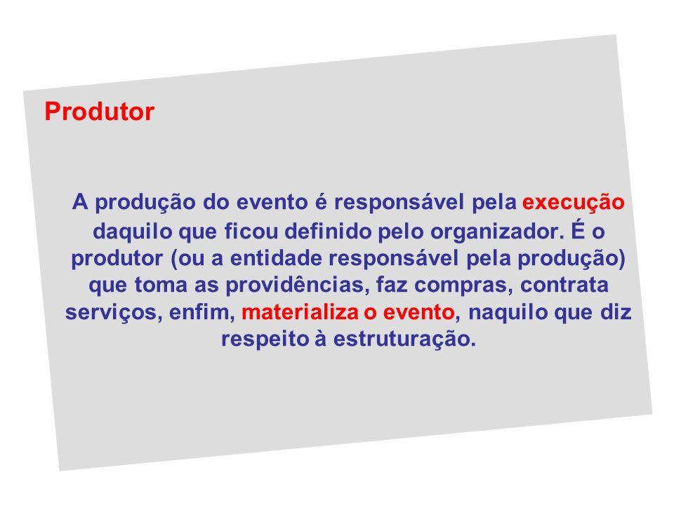 Produtor A produção do evento é responsável pela execução daquilo que ficou definido pelo organizador. É o produtor (ou a entidade responsável pela pr