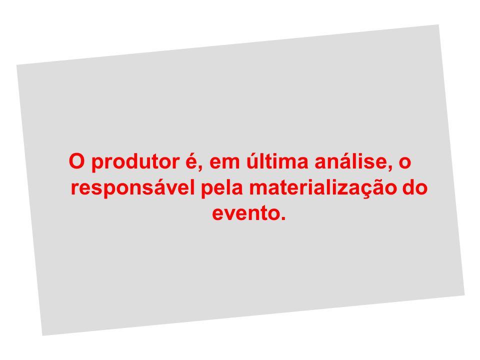O produtor é, em última análise, o responsável pela materialização do evento.