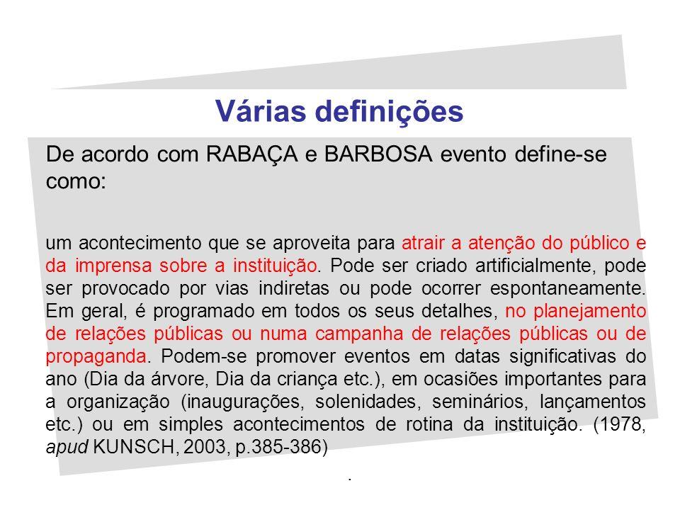 Várias definições De acordo com RABAÇA e BARBOSA evento define-se como: um acontecimento que se aproveita para atrair a atenção do público e da impren