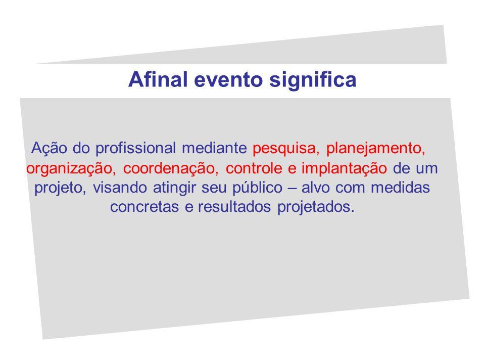 Afinal evento significa Ação do profissional mediante pesquisa, planejamento, organização, coordenação, controle e implantação de um projeto, visando